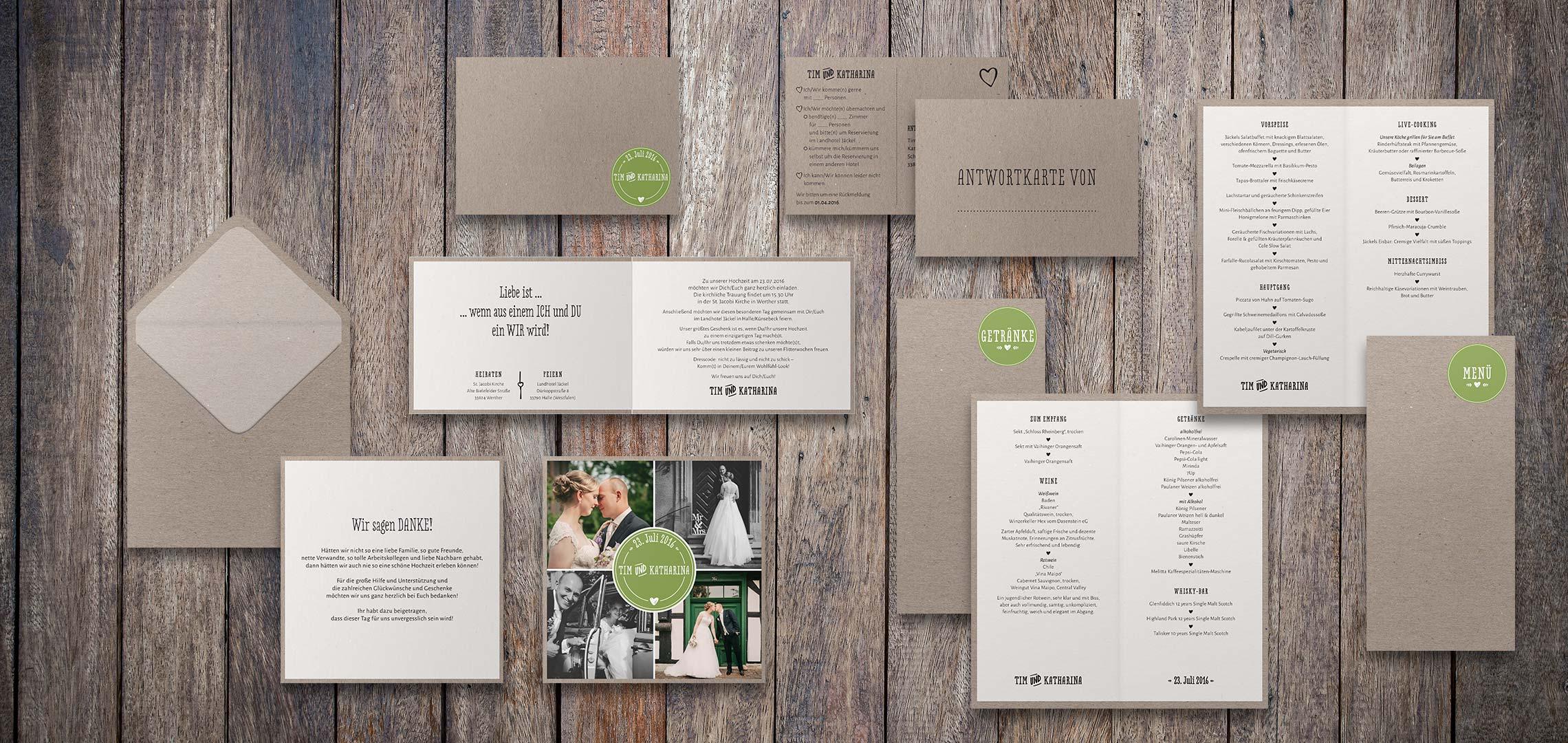 Hochzeitspapeterie Kraftpapier