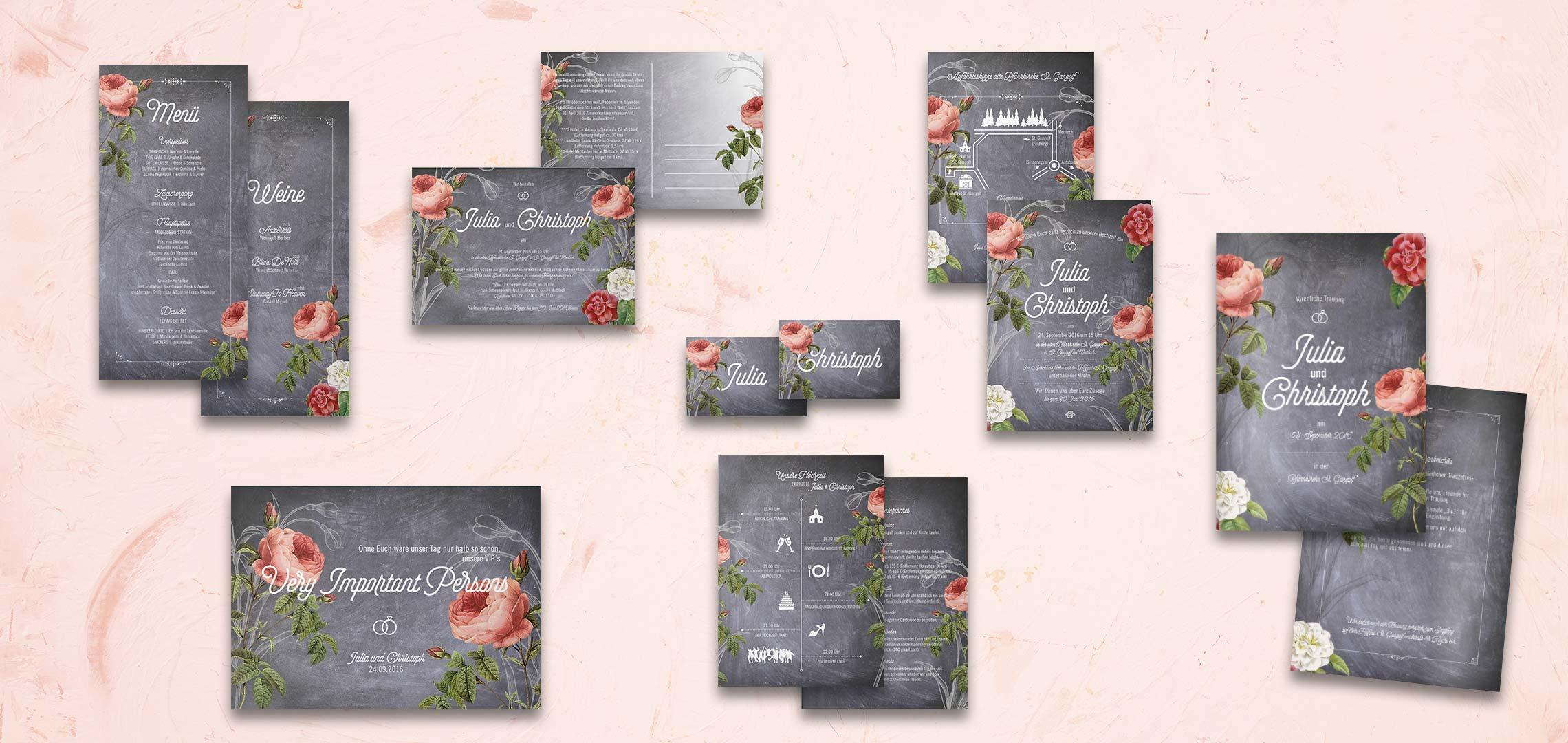 Individuelles Hochzeitsdesign Rosen